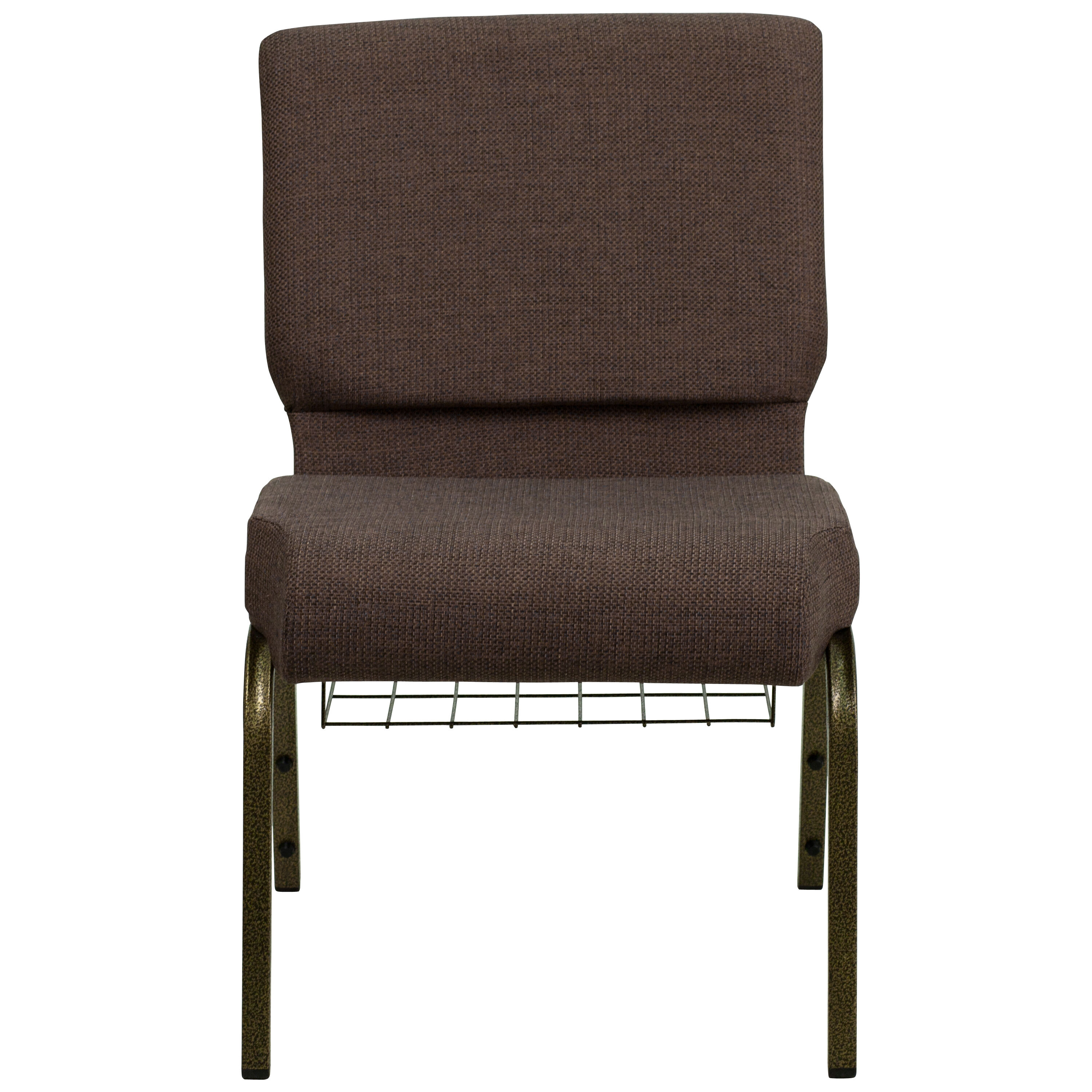 Merveilleux ... Our HERCULES Series 21u0027u0027W Church Chair In Brown Fabric With Cup Book  Rack ...