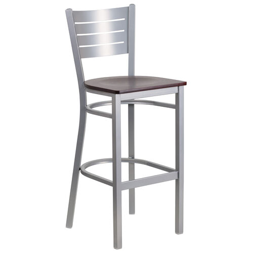 Our Silver Slat Back Metal Restaurant Barstool with Mahogany Wood Seat is on sale now.