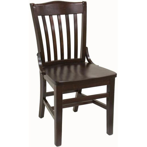 Vertical Slat Back Solid Wood Side Chair - Dark Mahogany Finish