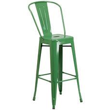 "Commercial Grade 30"" High Green Metal Indoor-Outdoor Barstool with Back"