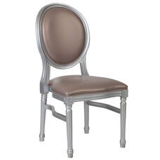 HERCULES Series 900 lb. Capacity King Louis Chair with Taupe Vinyl Back and Seat and Silver Frame