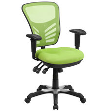 Mid-Back Green Mesh Multifunction Executive Swivel Chair with Adjustable Arms