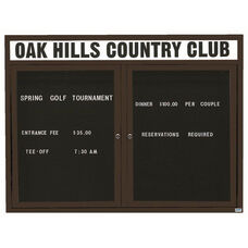 2 Door Outdoor Illuminated Enclosed Directory Board with Header and Black Anodized Aluminum Frame - 48
