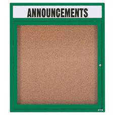1 Door Indoor Enclosed Bulletin Board with Header and Green Powder Coated Aluminum Frame - 36