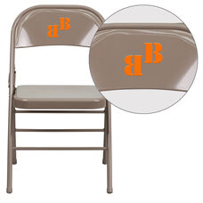 Personalized HERCULES Series Triple Braced & Double-Hinged Beige Metal Folding Chair