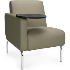 Triumph Right Arm Modular Lounge Chair with Tablet Vinyl Seat and Chrome Feet - Taupe Seat with Tungsten Finish Tablet
