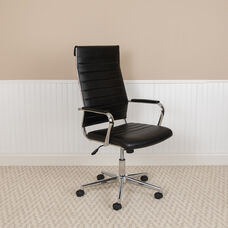 High Back Black LeatherSoft Contemporary Ribbed Executive Swivel Office Chair