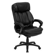 High Back Black Leather Executive Swivel Ergonomic Office Chair with Plush Headrest, Extensive Padding and Arms