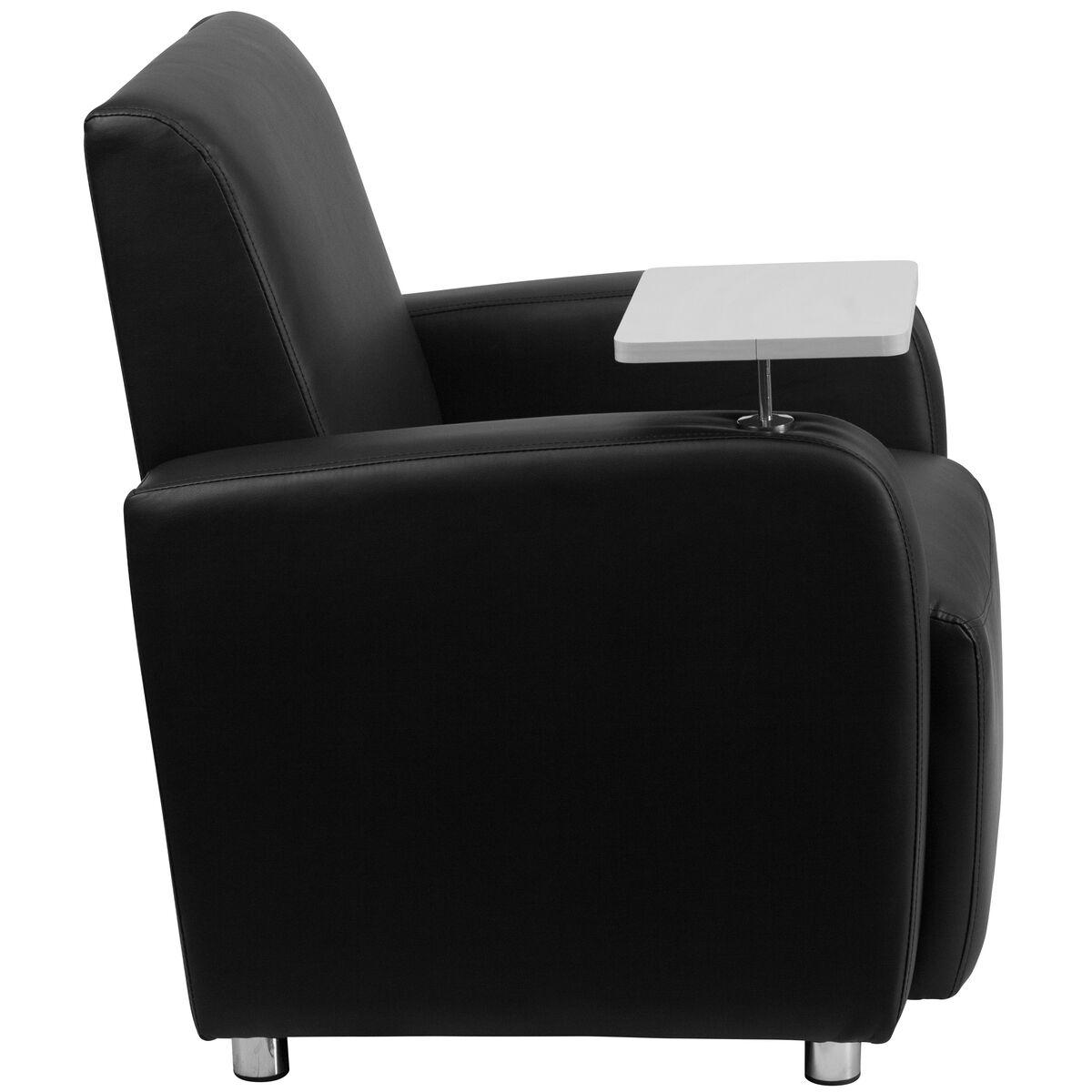 Black Leather Tablet Chair Bt 8217 Bk Gg Churchchairs4less Com