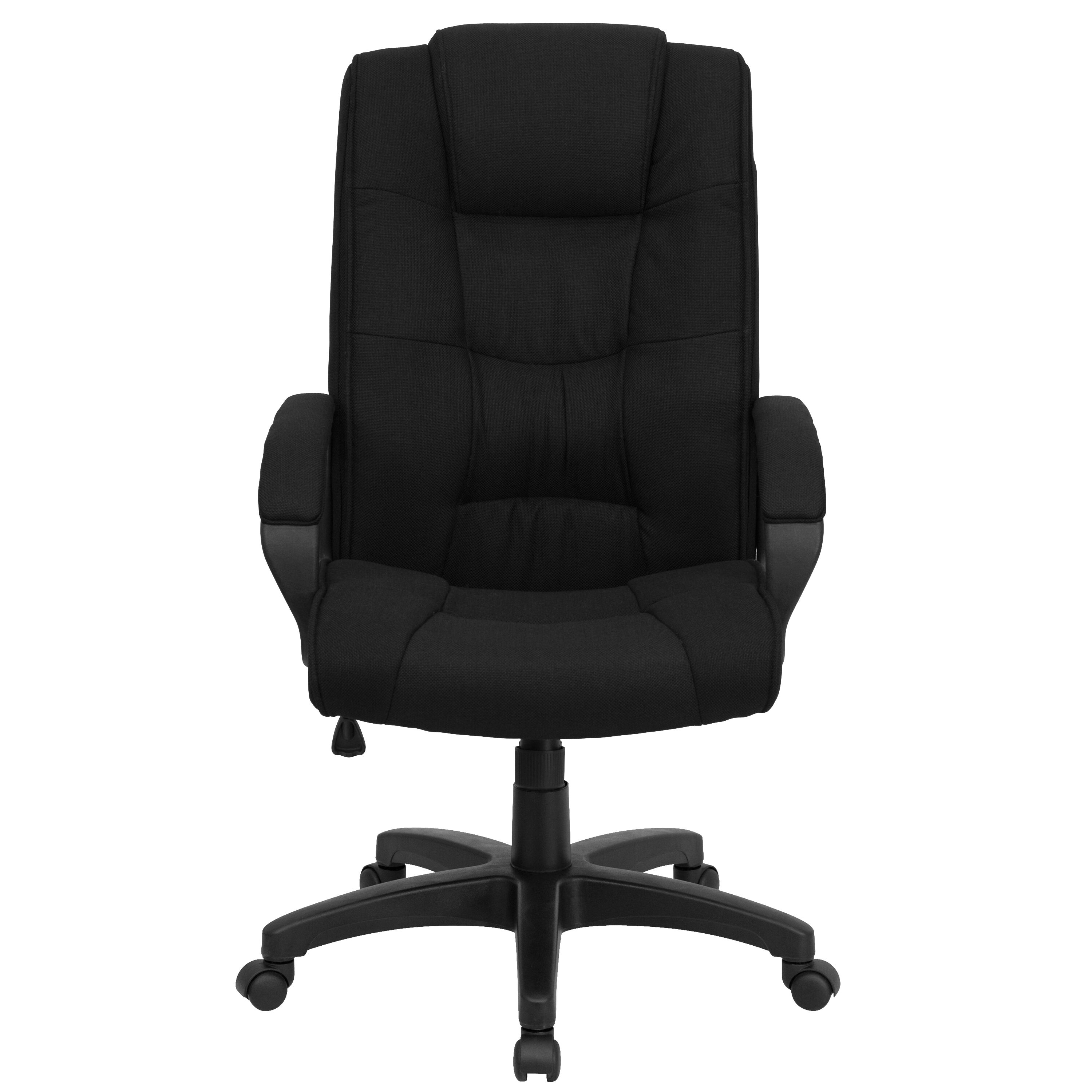 Our High Back Black Fabric Executive Swivel Chair With Arms Is On Sale Now.