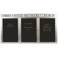 3 Door Outdoor Illuminated Enclosed Directory Board with Header and Aluminum Frame - 36