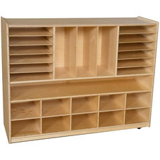 Wooden Mobile Multi-Storage Unit with 10 Assorted Pastel Plastic Storage Trays - 48