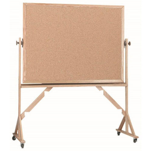 Our Reversible Free Standing Natural Pebble Grain Cork Bulletin Board with Red Oak Frame - 48