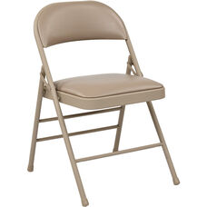 Work Smart Folding Chair with Vinyl Seat and Back - Set of 4 - Tan