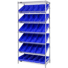 Stationary Slanted Wire Shelving with 30 Economy Shelf Bins - Blue