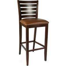 Ladder Back Bar Stool in Medium Oak Wood Finish