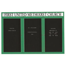3 Door Indoor Illuminated Enclosed Directory Board with Header and Green Anodized Aluminum Frame - 48