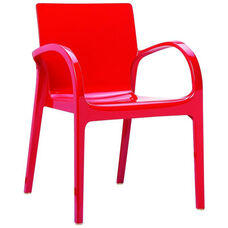 Dejavu Contemporary Polycarbonate Arm Chair - Glossy Red