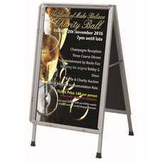 Satin Anodized Lightweight Aluminum Snap Frame A-Frame Sidewalk Poster/Sign Holder with Clear Acrylic Cover and Steel Reinforced Corners - 26