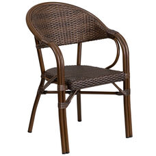Milano Series Cocoa Rattan Restaurant Patio Chair with Bamboo-Aluminum Frame