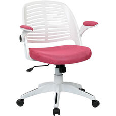 Ave Six Tyler White Frame and Mesh Fabric Seat Office Chair with Padded Armrests and Casters - Pink