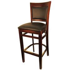 Wood Upholstered Back Barstool