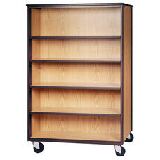 Mobile Double Faced Bookcase w/Adjustable Shelves