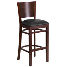 Walnut Finished Solid Back Wooden Restaurant Barstool with Black Vinyl Seat