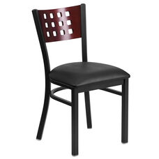 Black Decorative Cutout Back Metal Restaurant Chair