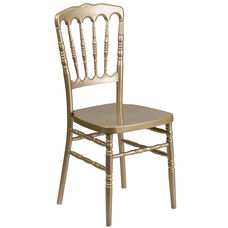 HERCULES Series Gold Resin Stacking Napoleon Chair with Double Rail Bracing