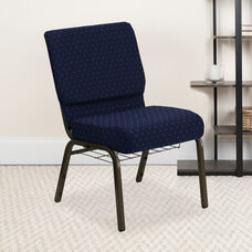 HERCULES Series 21''W Church Chair in Navy Blue Dot Patterned Fabric with Book Rack - Gold Vein Frame