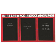3 Door Outdoor Illuminated Enclosed Directory Board with Header and Red Anodized Aluminum Frame - 48