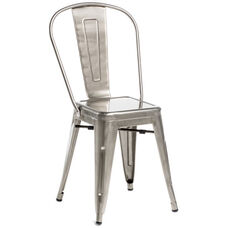 Oscar Steel Powder Coated Stackable Armless Chair - Brushed Gun Metal