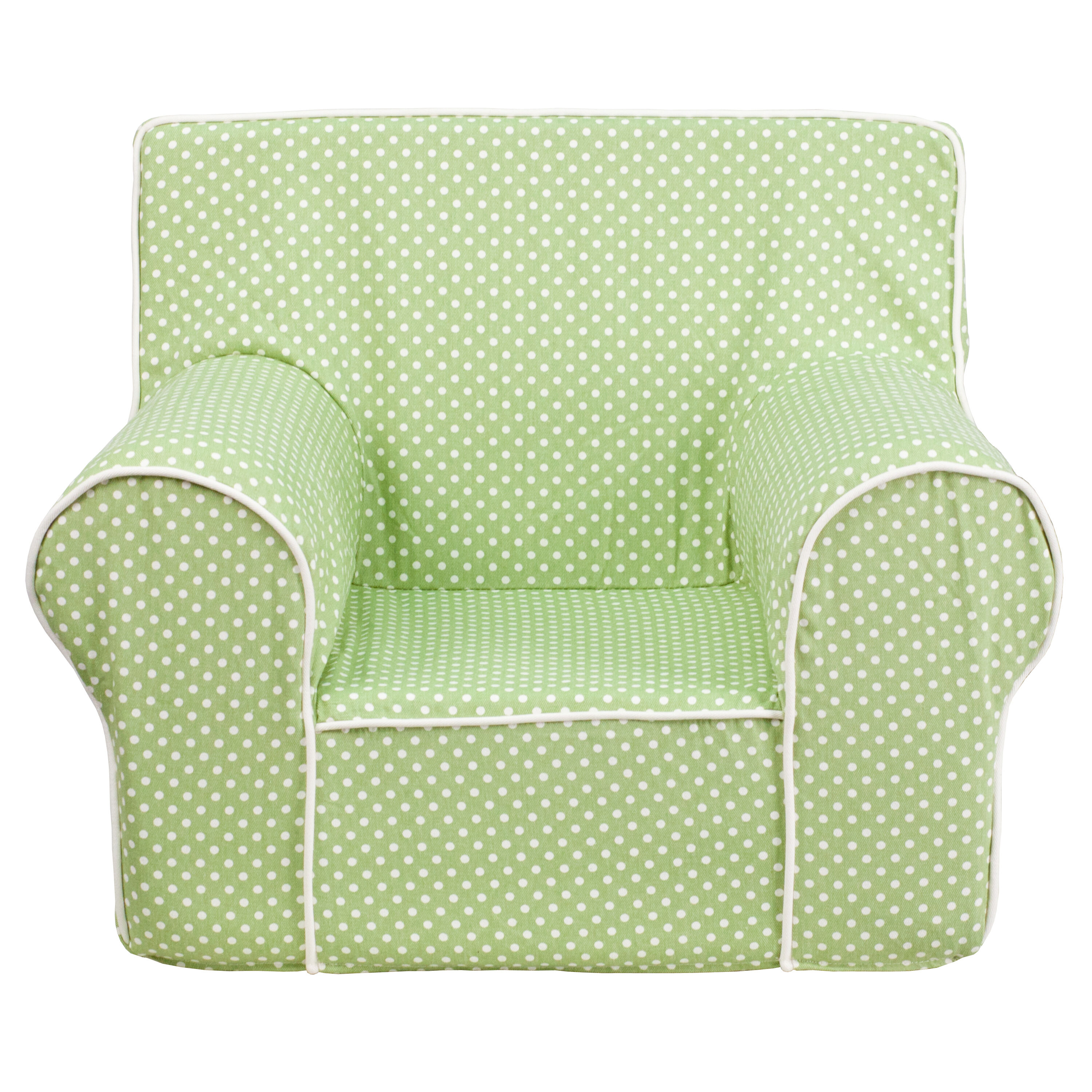 Our Small Green Dot Kids Chair With White Piping Is On Sale Now.