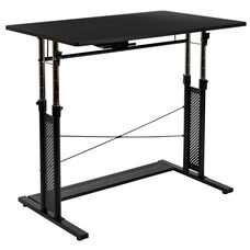"Height Adjustable (27.25-35.75""H) Sit to Stand Home Office Desk - Black"