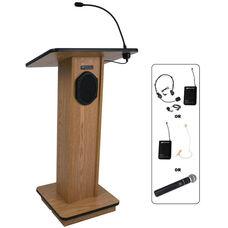 Elite Wireless 150 Watt Sound and Microphone Lectern - Oak Finish - 24