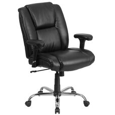 HERCULES Series Big & Tall 400 lb. Rated Black LeatherSoft Ergonomic Task Office Chair with Chrome Base and Adjustable Arms