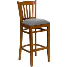 Cherry Finished Vertical Slat Back Wooden Restaurant Barstool with Custom Upholstered Seat