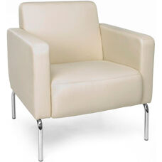Triumph Lounge Chair with Vinyl Seat with Chrome Feet - Cream