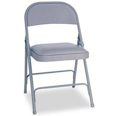 Alera® Steel Folding Chair w/Padded Seat- Gray- 4/Carton