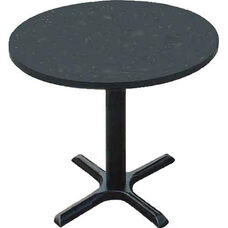 Laminate Top Round Cafe Table with 29''H Cast Iron X-Base - 60'' Diameter