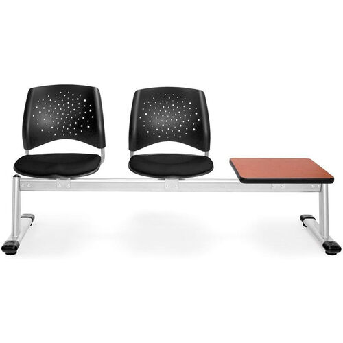 Our Stars 3-Beam Seating with 2 Black Fabric Seats and 1 Table - Cherry Finish is on sale now.