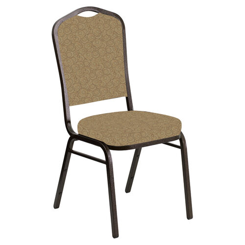 Our Embroidered Crown Back Banquet Chair in Martini Coffee Fabric - Gold Vein Frame is on sale now.