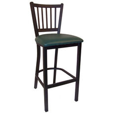 Metal Barstool with Vertical Slat Back