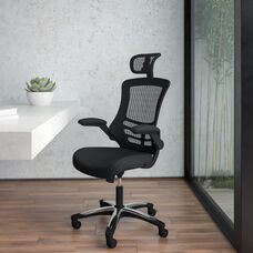 High-Back Black Mesh Swivel Ergonomic Executive Office Chair with Flip-Up Arms and Adjustable Headrest, BIFMA Certified