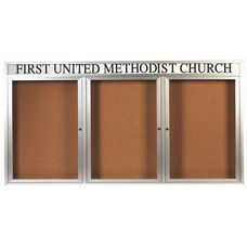 3 Door Indoor Enclosed Bulletin Board with Header and Aluminum Frame - 48