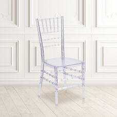 "Flash Elegance Crystal Ice Stacking Chiavari Chair with <span style=""color:#0000CD;"">Free </span> Cushion"
