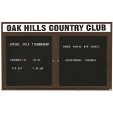 2 Door Outdoor Illuminated Enclosed Directory Board with Header and Bronze Anodized Aluminum Frame - 48