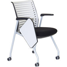 Ace Multi Purpose Nesting Chair with Right Handed Writing Table - Black Seat and White Back