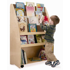 Two Sided New Wave Portable Library Cart with Heavy Duty Casters and Plenty of Storage Space